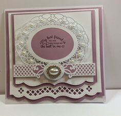 Paper Crafts Card making Birthday Cards For Women, Female Birthday Cards, Spellbinders Cards, Embossed Cards, Friendship Cards, Marianne Design, Pretty Cards, Creative Cards, Anniversary Cards