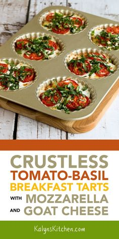 Crustless Tomato-Basil Breakfast Tart with Mozzarella and Goat Cheese are a delicious way to use fresh tomatoes and basil, and these tasty breakfast tarts are perfect for a special breakfast that's meatless, low-carb, and gluten-free! Low Carb Recipes, Vegetarian Recipes, Cooking Recipes, Healthy Recipes, Low Carb Breakfast, Breakfast Recipes, Tomato Breakfast, Clean Eating Snacks, Healthy Eating