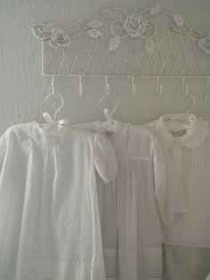 Baby clothes are like little handmade bouquets. Intricate and soft with delicate folds like petals. Junk Chic Cottage, Cottage Signs, White Cottage, Rose Cottage, Cottage Front Porches, White Coverlet, Pink Home Decor, Vintage Baby Clothes, Home Comforts