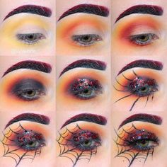 So ready for Halloween make up!So ready for Halloween make up!So ready for Halloween make up! Halloween Spider Makeup, Spider Web Makeup, Halloween Eyes, Halloween Makeup Looks, Halloween Makeup Vampire, Eyeliner Hacks, Holiday Makeup, Halloween Disfraces, Costume Makeup