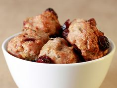 Gobble Gobble Turkey Meatballs  Sage, dried cranberries, and a pinch of cinnamon make these meatballs better than the main dish.