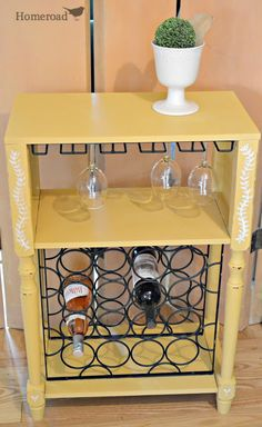 Hometalk :: A Wine Rack Cabinet Gets a Mellow Yellow Upgrade