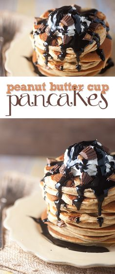 Peanut butter pancakes topped with homemade chocolate syrup and chopped up peanut butter cups for an easy dessert that is ready in 15 minutes!