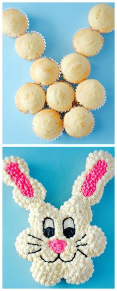 Pull Apart Easter Bunny Cupcake Cake ~ Easy, Adorable and fun... All you need are 12 cupcakes to make this little guy!