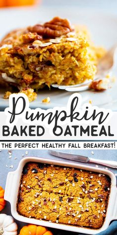 This Pumpkin Baked Oatmeal is an easy make ahead breakfast for chilly fall mornings! Serve with maple syrup and Greek yogurt for a healthy and balanced breakfast. Using pumpkin in breakfasts is a great way to add nutrients and fiber and its a fun Pumpkin Breakfast, Fall Breakfast, Christmas Breakfast, Brunch Recipes, Breakfast Recipes, Recipes Dinner, Dessert Recipes, Breakfast Ideas, Healthy Make Ahead Breakfast