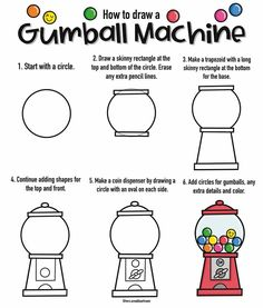 Instagram Gumball Machine, Drawing Lessons, Ads, Shapes, Drawings, Instagram, Drawing Classes, Character Education Lessons, Sketches