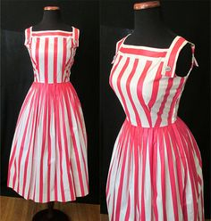 Adorable 1960's Pink and White Stripped Polished Cotton Summer Day Dress Rockabilly VLV Pinup Vixen Size-Small by wearitagain on Etsy https://www.etsy.com/listing/185800080/adorable-1960s-pink-and-white-stripped