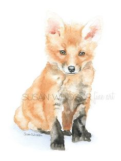 Baby Fox Watercolor 12 x 16 Gallery Wrapped Canvas Print