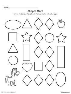 Diamond Shape Maze Printable Worksheet Worksheet.Practice recognizing the Diamond geometric shape by completing the maze in this printable worksheet.
