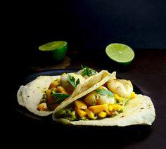 Tacos de vieiras con mango y guacamole #glutenfree