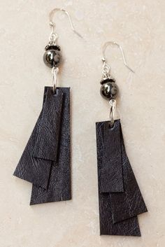 Coco Layered Leather Earrings - Brown -  - Letizia California - 4