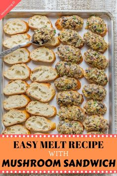 Cheesy bacon mushroom sandwich melts with make-ahead option! Mushrooms, cheese and bacon are a winning combination. These mushroom melts fly of the plate! Mini Sandwiches, Finger Sandwiches, Sloppy Joe, Appetizers For A Crowd, Appetizer Recipes, Mushroom Recipes, Bacon Mushroom, Sandwich Melts, High Tea Food
