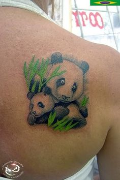 Panda And Baby Tattoo On Back Shoulder