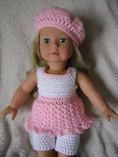Crochet pattern for dress, shorts and hat for 18 inch doll, American Girl doll or Gotz doll