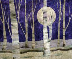 Purple moon art quilt made with hand by ArtQuiltsbyGretchen, $450.00 WINNING QUILT!! for the QQQ Quilt of the Month Contest for October! Congratulations Gretchen!!  :-)