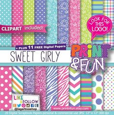 Sweet Girly Digital Papers, Patterns, Pink, Purple, Turquoise, Lime Glitter, clip art, chevron, Background invitations scrapbook