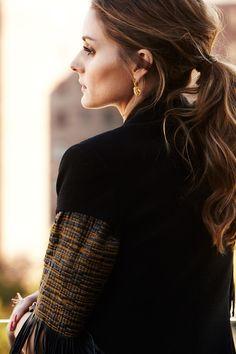 Olivia Palermo | earrings Carrera y Carrera | Rachel Zoe vest