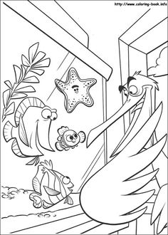 finding nemo nemo peach bubbles and deb talking to nigel coloring page