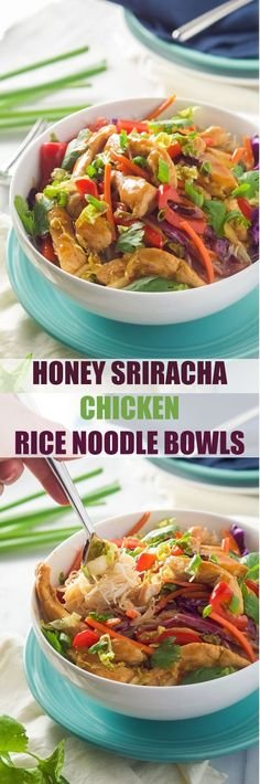 Honey Sriracha Chicken Rice Noodle Bowls are filled with chicken and stir fried vegetables, smothered in a sweet and spicy sauce; all over a big bowl of rice noodles! Click through for recipe! Vegetarian Recipes Dinner, Dinner Recipes, Chicken Rice Noodles, Shirataki Noodles, Asian Noodles, Asian Recipes, Healthy Recipes, Thai Curry Recipes, Honey Sriracha Chicken