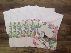 Destash, Blank cards, mini floral cards, set of 5 bird print cards, gorgeous blank cards by PinkyPromiseBargains on Etsy