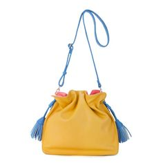 JSR Tassels Drawstring Bucket Bag/Shoulder Bag - Yellow [170440] - $35.00