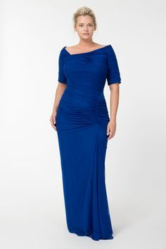 Asymmetric Ruched Sleeve Gown in Marina | Tadashi Shoji Fall / Holiday Plus Size Collection