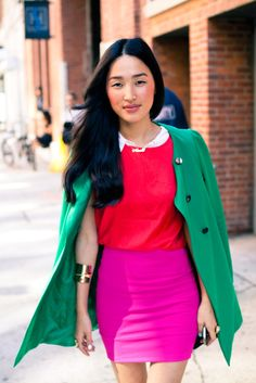not sure i would wear all those colors together but i looove each piece. esp that awesome green jacket!