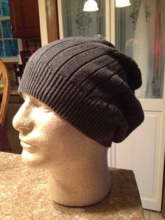 Mens Slouchy Beanie Grey Knit by just4tdyCrochet on Etsy, $23.00