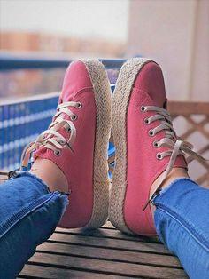 c753523f Zapatillas mujer lona esparto plataforma rosa verano casual planas zapatos  | Ropa, calzado y complementos
