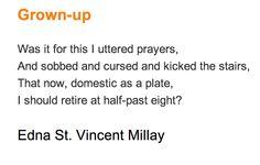 """Grown-Up,"" Edna St Vincent Millay"