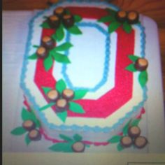 Ohio State cake with edible chocolate and peanut butter buckeyes