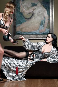 Dita Von Teese sporting lingerie from the capsule collection she designed with Christian Louboutin. [Courtesy Photo]