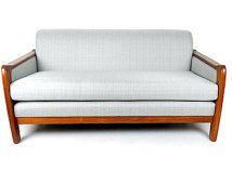 Mid Century Modern Loveseat Danish Teak Couch Silver Gray Sofa Modern Living Room Furniture Atomic Couch Retro Couch Sofa Scandinavian Decor
