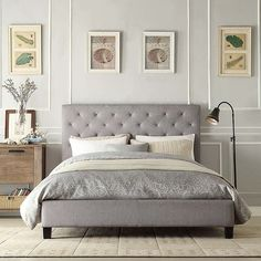 This elegant platform bed features a button-tufted headboard and durable linen upholstery. This queen-sized bed has small black wooden legs to raise it off the floor. Furniture Deals, Bedroom Furniture, Bedroom Decor, Bedroom Ideas, Furniture Movers, Metal Furniture, Bedroom Designs, Tufted Bed, Upholstered Platform Bed