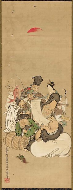 The Seven Gods of Good Fortune Shichifukujin zu.     Japanese first half of the 19th century.    Kano Tôhaku Chikanobu (Japanese, 1772–1821)