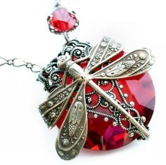 Favorite  Like this item?    Add it to your favorites to revisit it later.  La Belle Epoque dragonfly necklace ORIGINAL Federikas vintage filigree jewelry in ruby red.......yummmmm