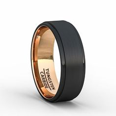 Black Rose Gold Tungsten Ring with Step Beveled Edges  - - #ring #men #jewelry #classic #wood #tungstenrings #mensring #mensstyle #mensjewelry #mensfashion  #menswear #mensweardaily #picoftheday #outfit #wedding #tungsten_band #collection #siliconerings #sport #fit #mensstyle #menwithstyle #styleblogger #luxurylife #styleinspiration #menstreetstyle #coollook #iamstyle #fashionist #topman Tungsten Jewelry, Black Tungsten Rings, Silicone Rings, Jewelry Stores, Jewelry Box, American, Custom Jewelry, Wedding Bands, Engagement Rings