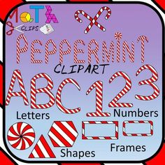 Peppermint Clipart for tasty holiday projects! This set has it all: Candy canes, peppermints, peppermint shapes, peppermint numbers and operations, peppermint letters and frames. Includes candy canes, candy sticks, peppermints, peppermint shapes: circles, rings, semicircles, squares, rectangles, rounded square, rounded rectangle, triangles, rhombus, parallelogram, trapezoid, pentagon, hexagon, octagon Peppermint numbers , through 9 and math symbols: plus, minus, multiply, divide, equals…