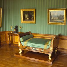 wallpaper is beautiful for a beauty and the beast room Antique Bedroom Furniture, French Furniture, Bedroom Ottoman, Exotic Bedrooms, Empire Design, French Wallpaper, Empire Furniture, Bedding Inspiration, Traditional Bedroom Decor