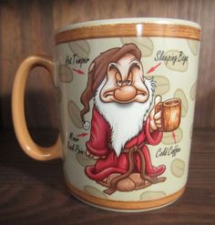 "Disney Large ""Wake Up Grumpy"" Mug Coffee Cup Snow White and The Seven Dwarves 