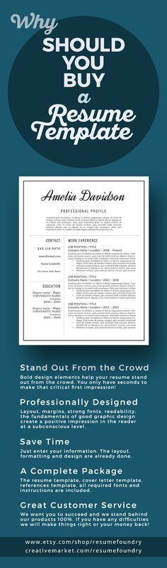 Elegant resume template Instant download, for use with Microsoft - fill in resume template