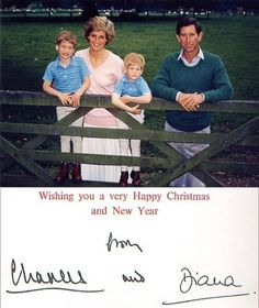 1988 Wales Family Christmas Card of Prince Charles, Princess Diana, Prince William and Prince Harry of Wales