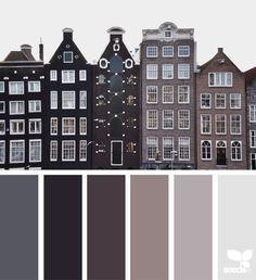 city tones, by design seeds Colour Pallette, Colour Schemes, Color Combos, Paint Schemes, Design Seeds, Colour Board, Color Swatches, Color Theory, House Colors