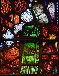 Gobnait Clarke appears again in the small Our Lady of the Sorrows window completed in 1917 Modern Stained Glass, Stained Glass Windows, History Of Illustration, Illustrations, Irish Free State, The Last Judgment, Harry Clarke, Irish Art, Snow Queen