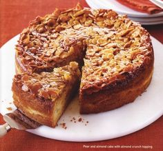 Pear and Almond Cake with Almond Crunch Topping.