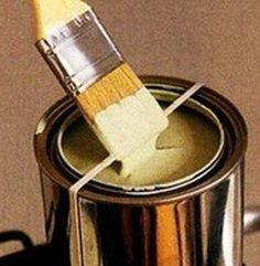 When painting with a paint brush and bucket use the rubber band method to keep your brush clean