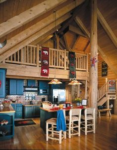 log cabin decorating ideas with tapestries and blue kitchen cabinets : Log Cabin Decorating Ideas. cabin decor design,cabin decorating ideas pictures,decorating cabin,decorating cabin homes,log cabin decorating tips Cabin Homes, Log Homes, Cabin Design, House Design, Rustic Cabin Decor, Rustic Cabins, Lodge Decor, Cabin Kitchens, Western Homes
