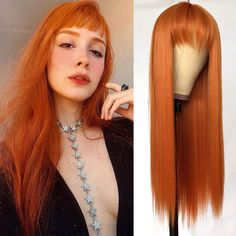 QD-Tizer Orange Color Synthetic Hair Replacement Wigs with Bangs Heat Resistant None Lace Wigs for Fashion Women Cosplay Costume Short Hair Wigs, Wigs With Bangs, Hairstyles With Bangs, Straight Hairstyles, Synthetic Lace Front Wigs, Synthetic Hair, Real Wigs, Stylish Short Hair, Natural Wigs