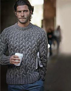 Męski sweter w warkocze