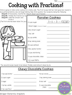 FREE Fraction Worksheet- Double the first recipe and half the second recipe! This ebook contains this freebie plus twelve more great freebies!